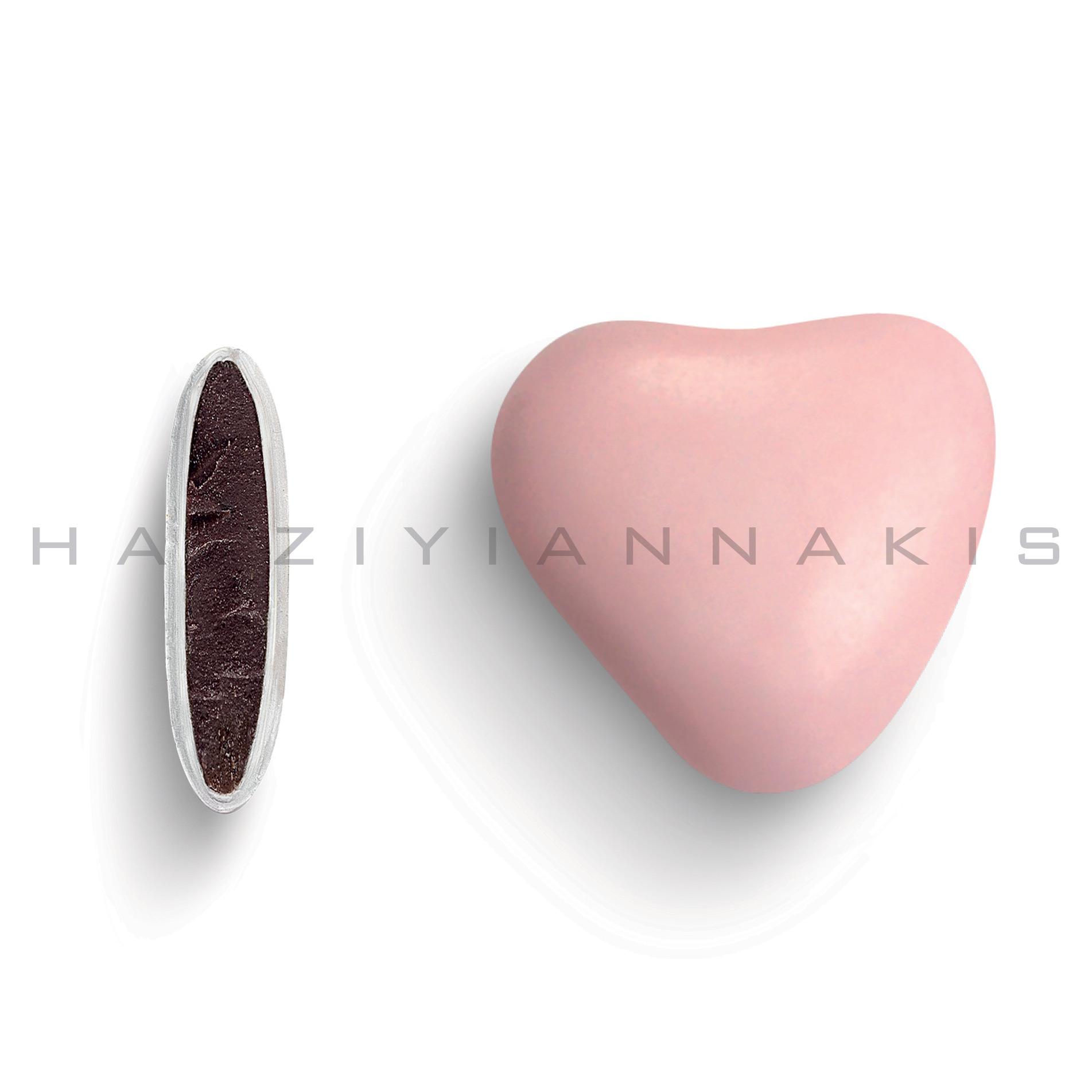 Κουφέτο καρδιά χρώμα ροζ ανοιχτό, ματ 500 gr Συσκευασία