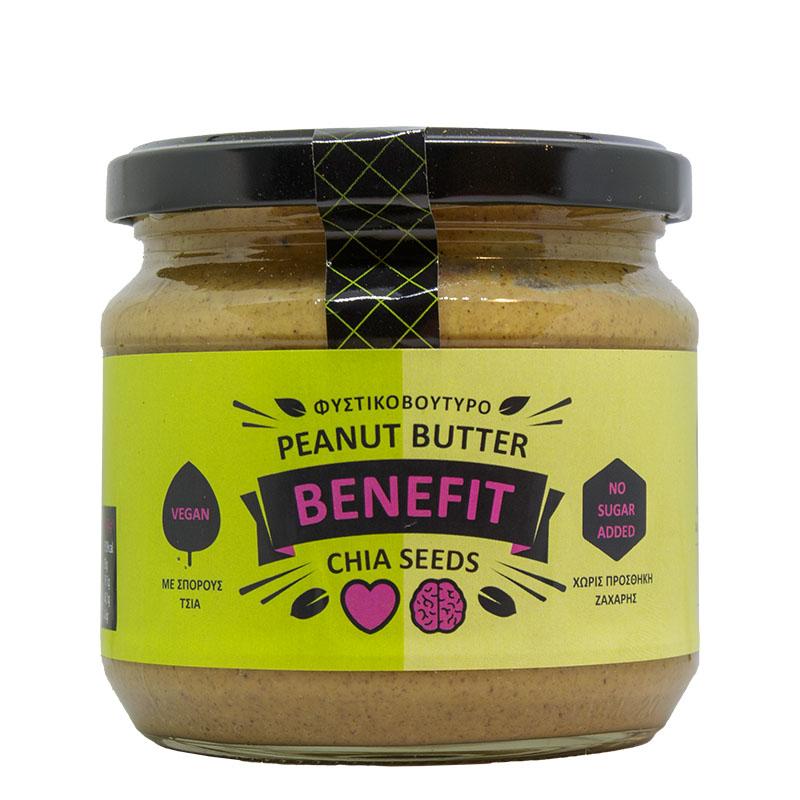 Φυστικοβούτυρο Chia – Peanut butter 350 gr Συσκευασία