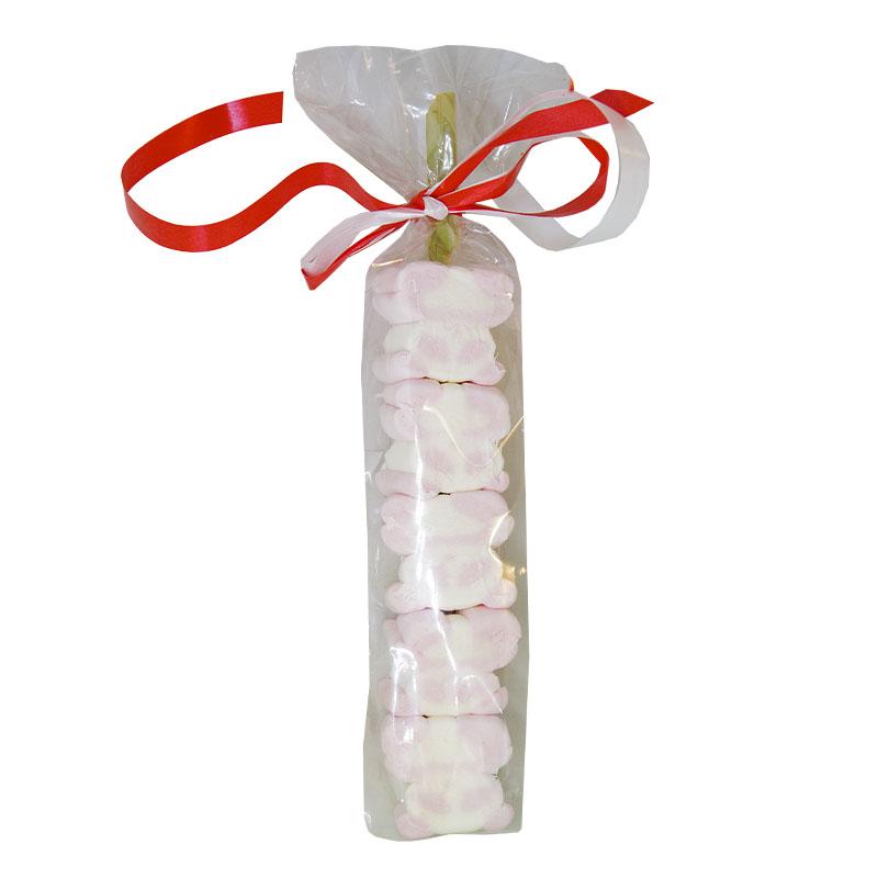 Καλαμάκι Marshmallows Ροζ Λευκό Αρκουδάκι (Χωρίς Γλουτένη) 30 gr Συσκευασία